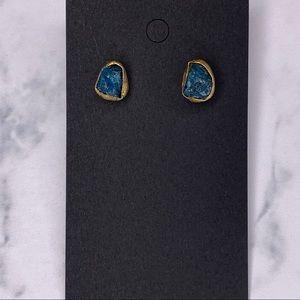 Gold/Blue Rock Earrings